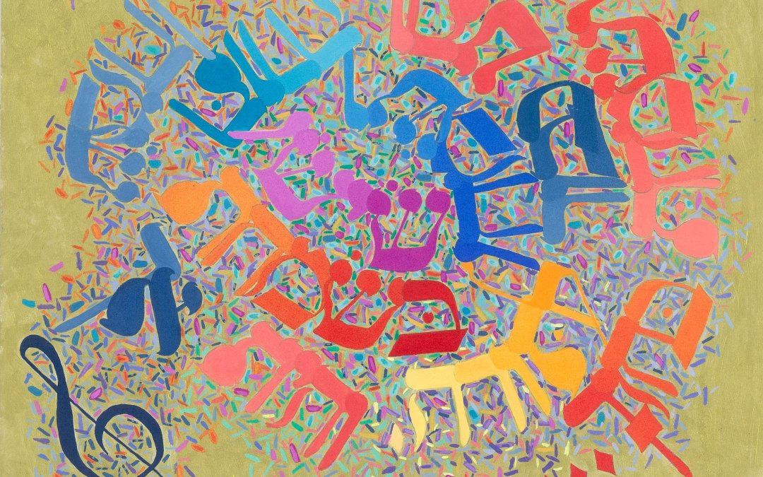 Painting featuring a musical clef and Hebrew letters in orange, red, violet, and blue on a puce background